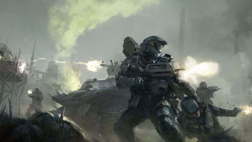 The firefight of the Spartans | Halo artwork | Halo game