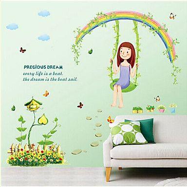 Kasvitieteellinen / Piirretty / Asetelma / Ihmiset Wall Tarrat Lentokone-seinätarrat , PVC 50cm*70cm - EUR € 3.71