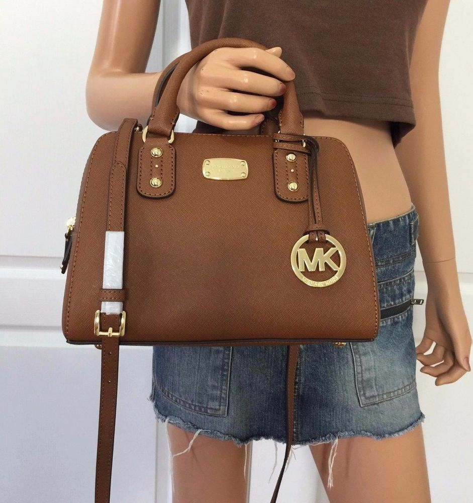Michael Kors Brown Saffiano Leather Small Satchel MK Signature Crossbody  Purse  MichaelKors  ShoulderBag 5f2508d979546