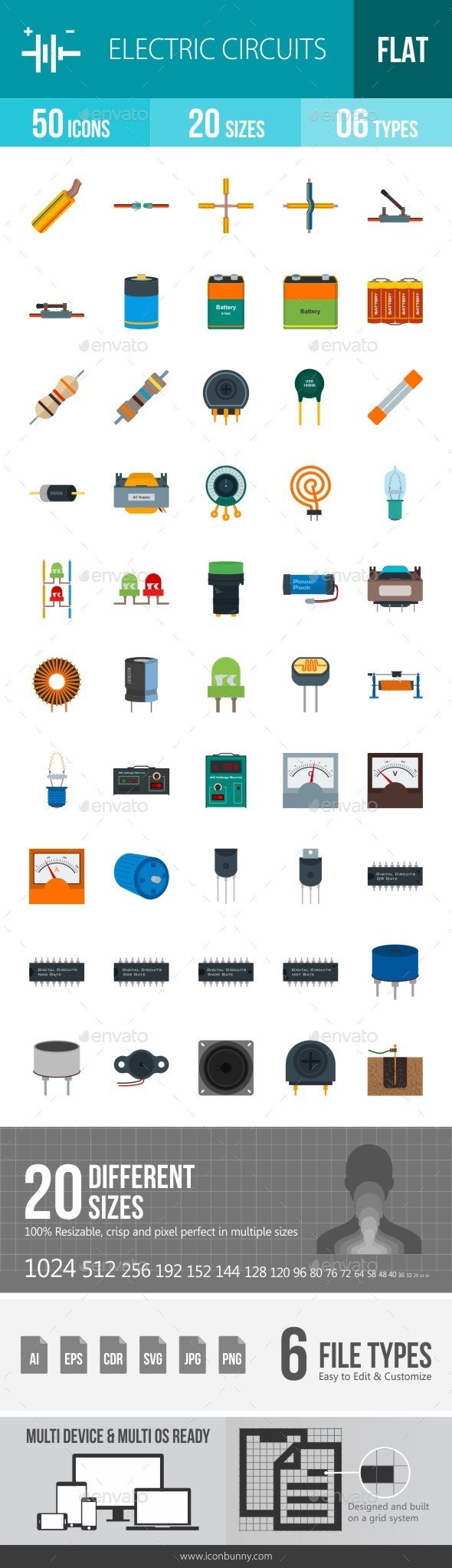 Electric Circuits Flat Multicolor Icons Circuit Website