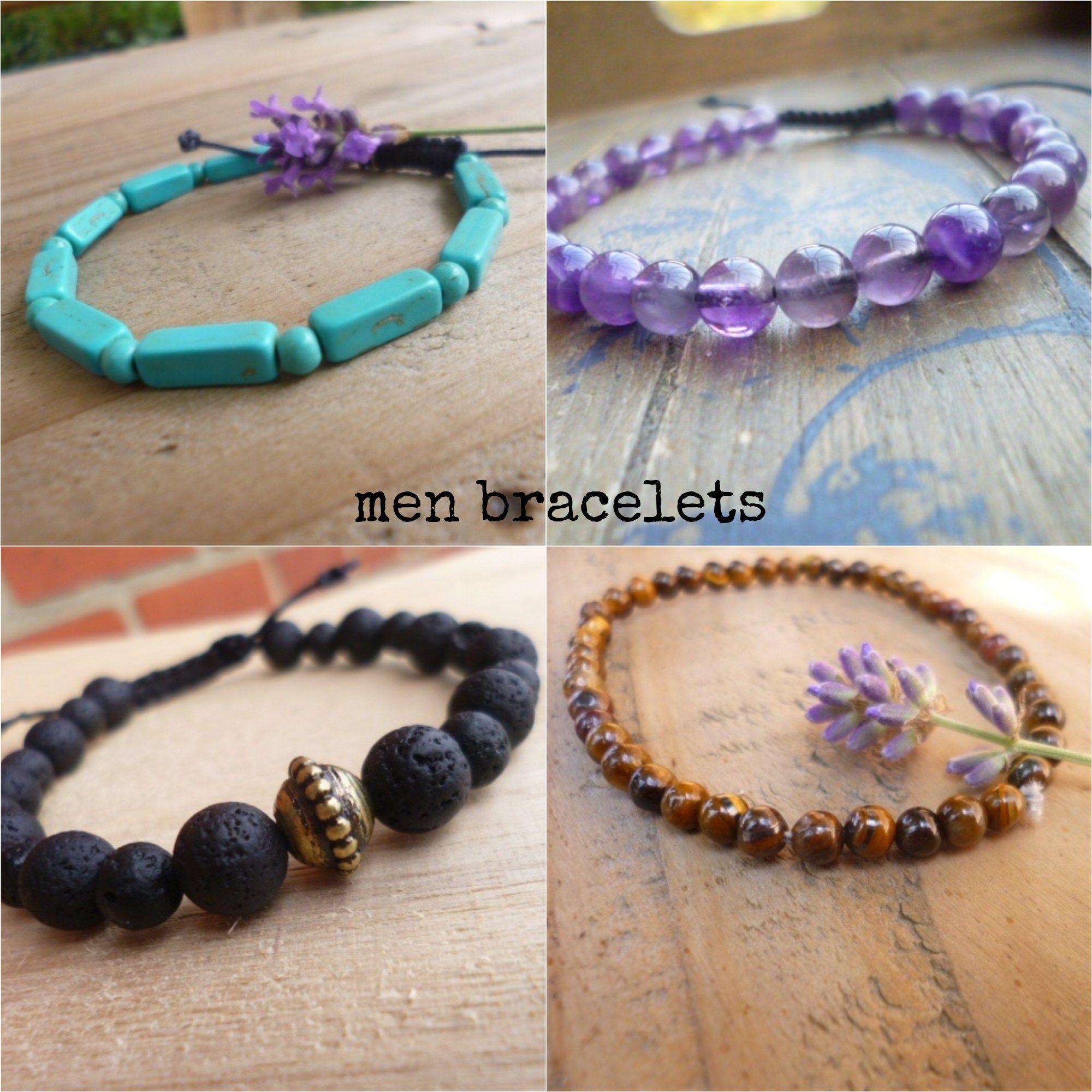 100% authentique super populaire style de mode Bracelet pierres naturelles homme, bracelet ajustable homme ...