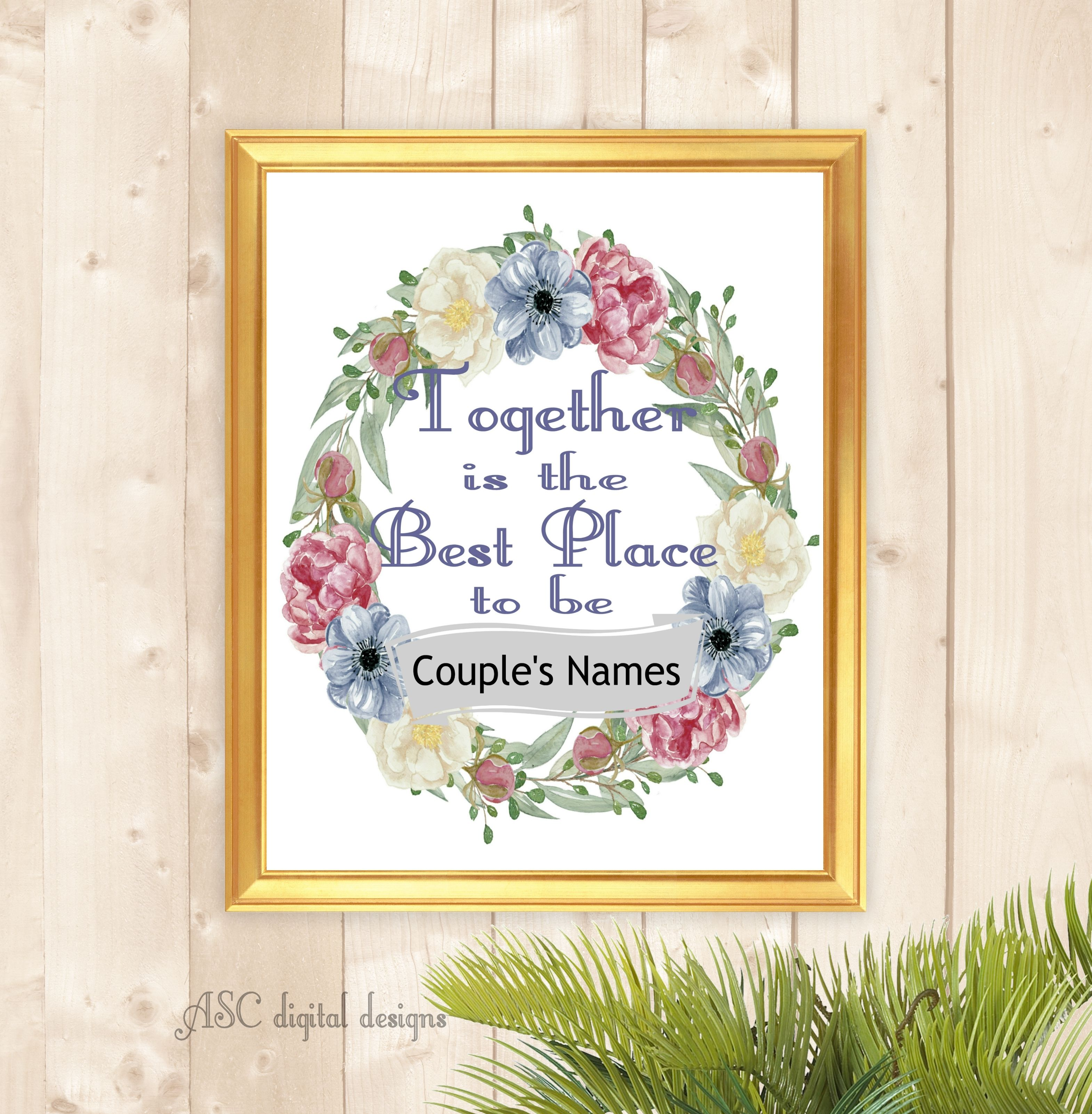 Together Is The Best Place To Be Personalized Couple Name Art