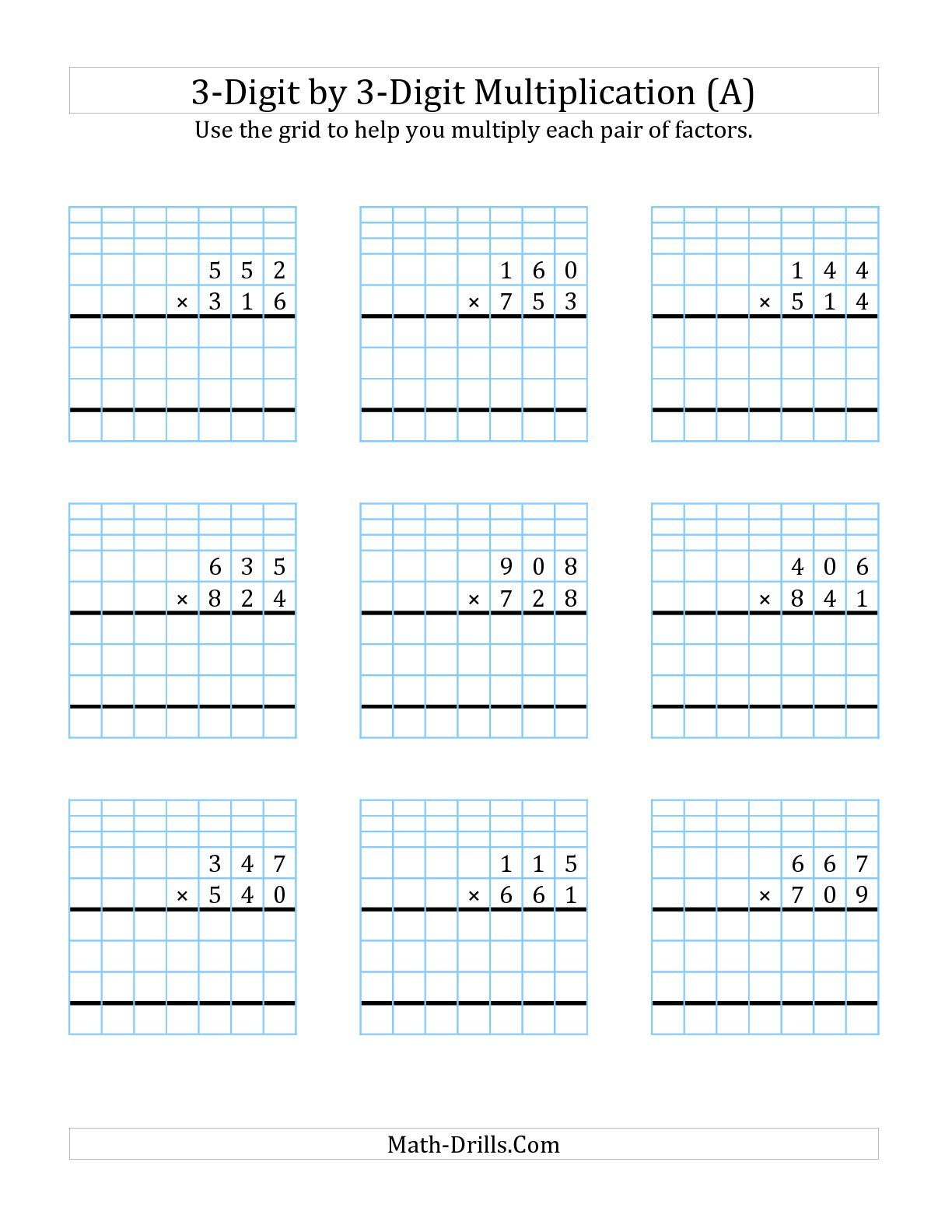 Requested And Added 3 Digit By 3 Digit Multiplication With Grid Support A Math Worksheet
