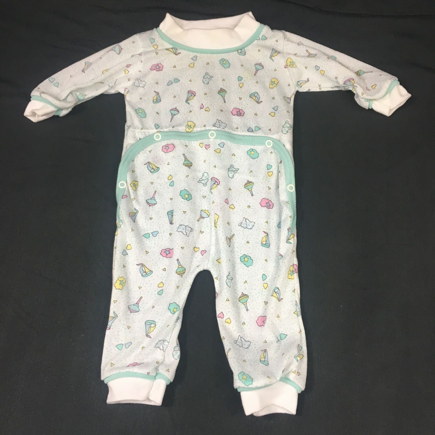 Baby Sleeper Vintage Baby Pajamas Front Snap Sleeper 1980 s Baby