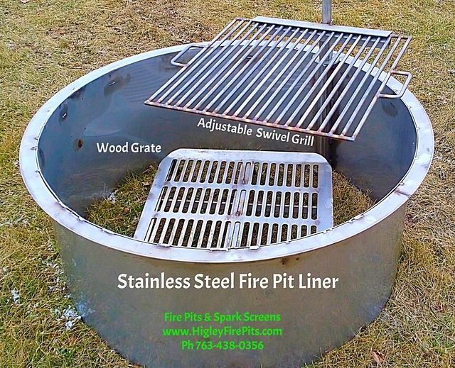 Fire Pits & Spark Screens HigleyStainlessSteel.com Stainless Steel Fire Pit  Liners - Spark Screens - Grills - Wood Grate - BBQ Wood Fired Pizza Oven ... - Fire Pits & Spark Screens HigleyStainlessSteel.com Stainless Steel