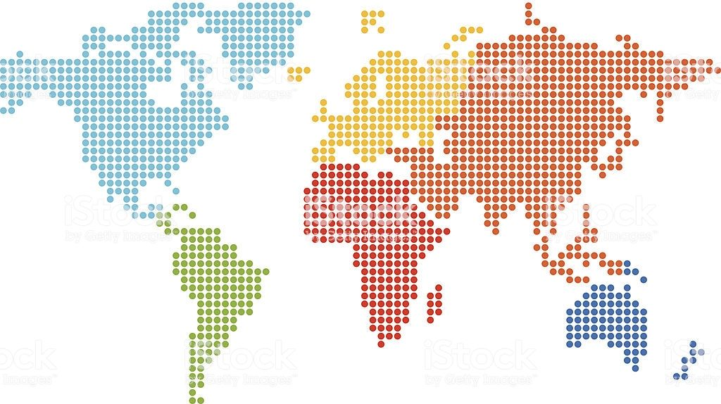 World Map Made Of Colored Dots Easy Resize Recolored