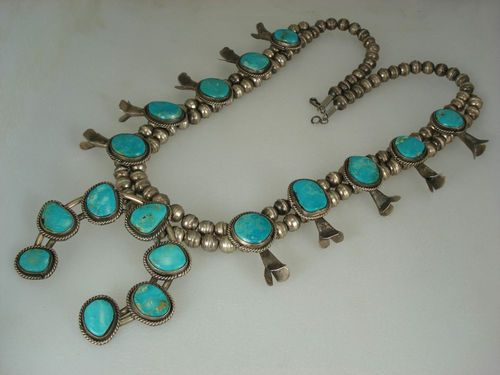OLD NAVAJO SILVER & ROYSTON TURQUOISE SQUASH BLOSSOM NECKLACE | eBay