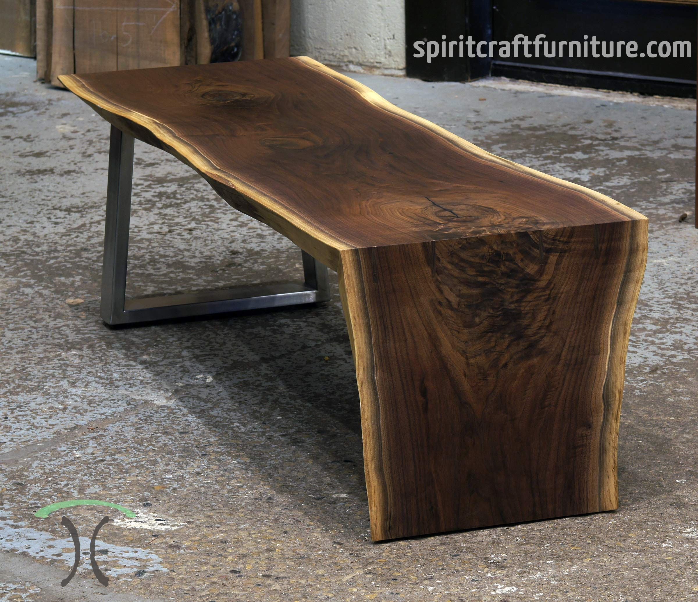 Vintage Industrial Live Edge Walnut Slab Coffee Table: Image Result For Wood Slab Waterfall Edge Island