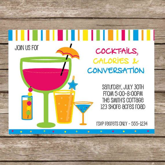 Awesome Summer Cocktail Party Ideas Part - 13: Printable Summer Cocktail Party Invitation Digital By CardMeKelly, $7.99
