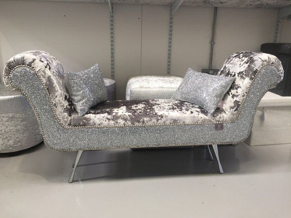 Stunning Mercury crushed velvet   silver glitter double ended chaise lounge    The Glitter Furniture Company. The Stunning Glitter Furniture Company Dining room chairs   silver