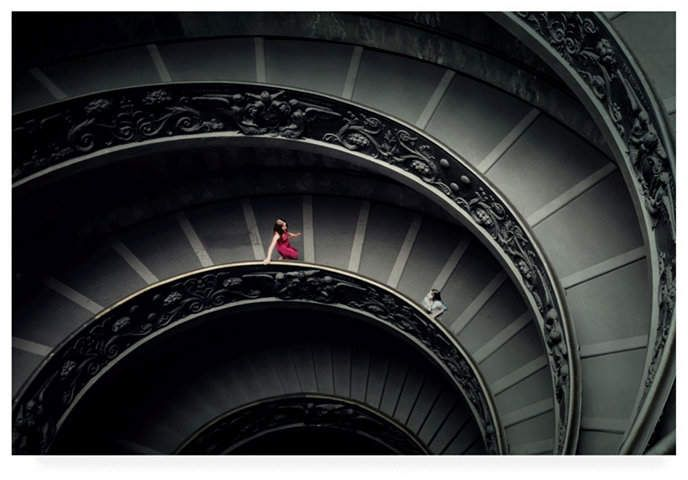 Trademark Global Lotte Gronkjar Spiral Stairs Woman in Red Canvas Art – 37