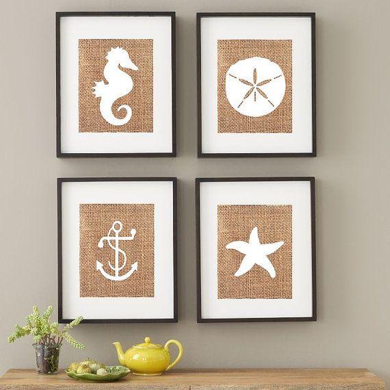 Beach House Print Nautical Nursery Starfish Sand Dollar Anchor Wall Art Decor Wedding Set