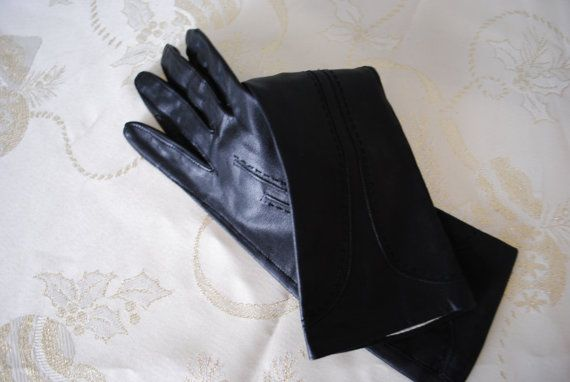 Luxurious vintage 60s black genuine leather long gloves by VezaVe, $22.00