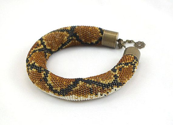 Beads crochet rope bracelet with snake skin by RebekeJewelryShop ...