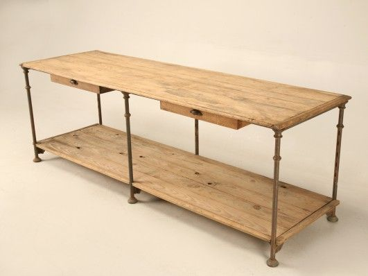 antique italian industrial steel and wood bakers u0027 work table with two wide drawers and lower antique italian industrial steel and wood bakers u0027 work table with      rh   pinterest com