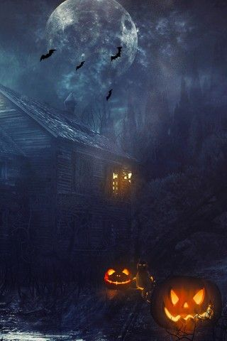Haunted House Full Moon Halloween Iphone 6 Wallpaper Halloween Wallpaper Iphone Halloween Wallpaper Pumpkin Wallpaper