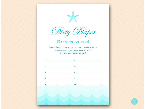 dirty diaper game printable  name that poop baby shower