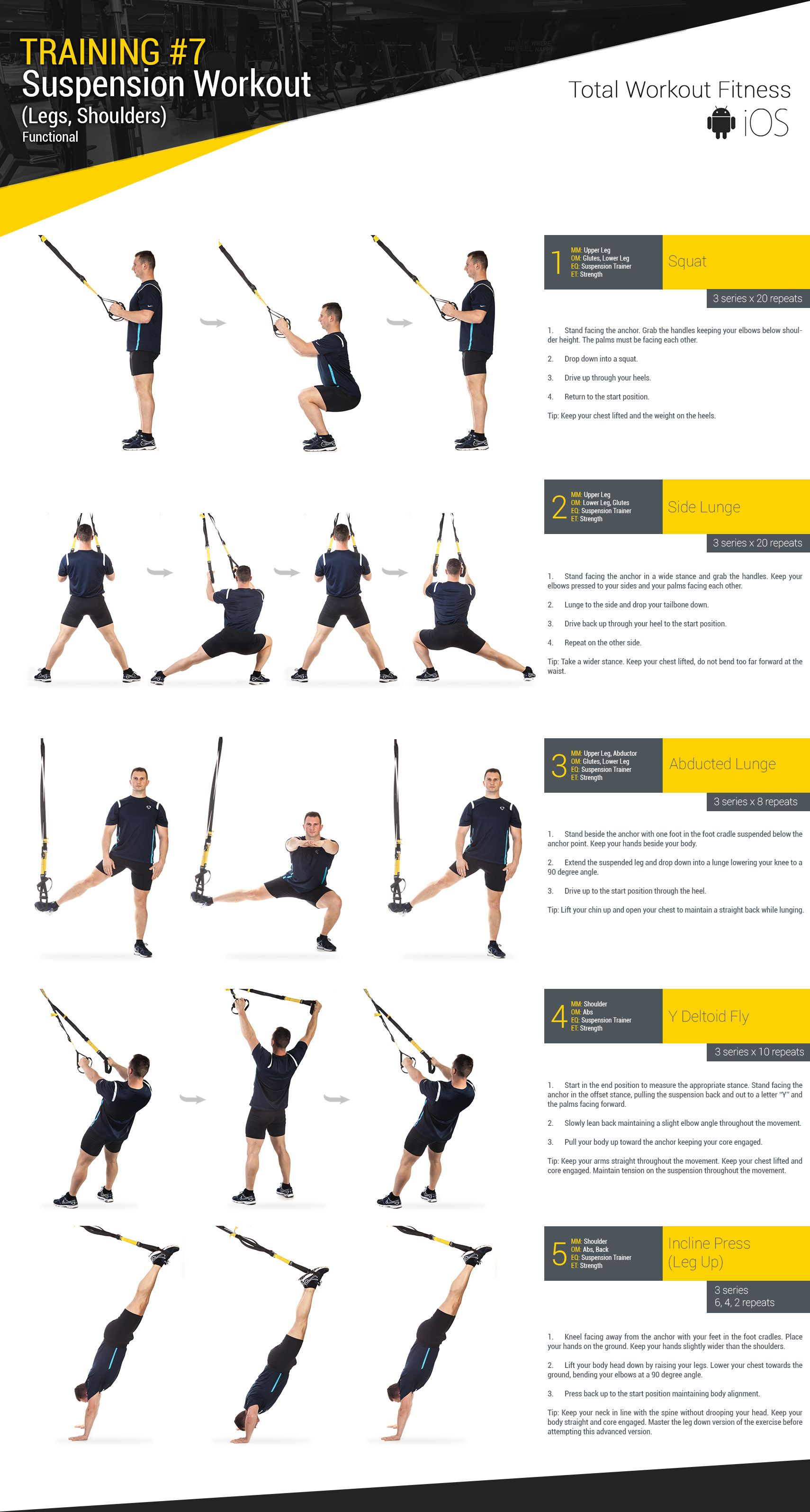Training 7 Suspension Workout Legs Shoulders Total Workout Fitness Trx Workouts Total Workout Trx Training