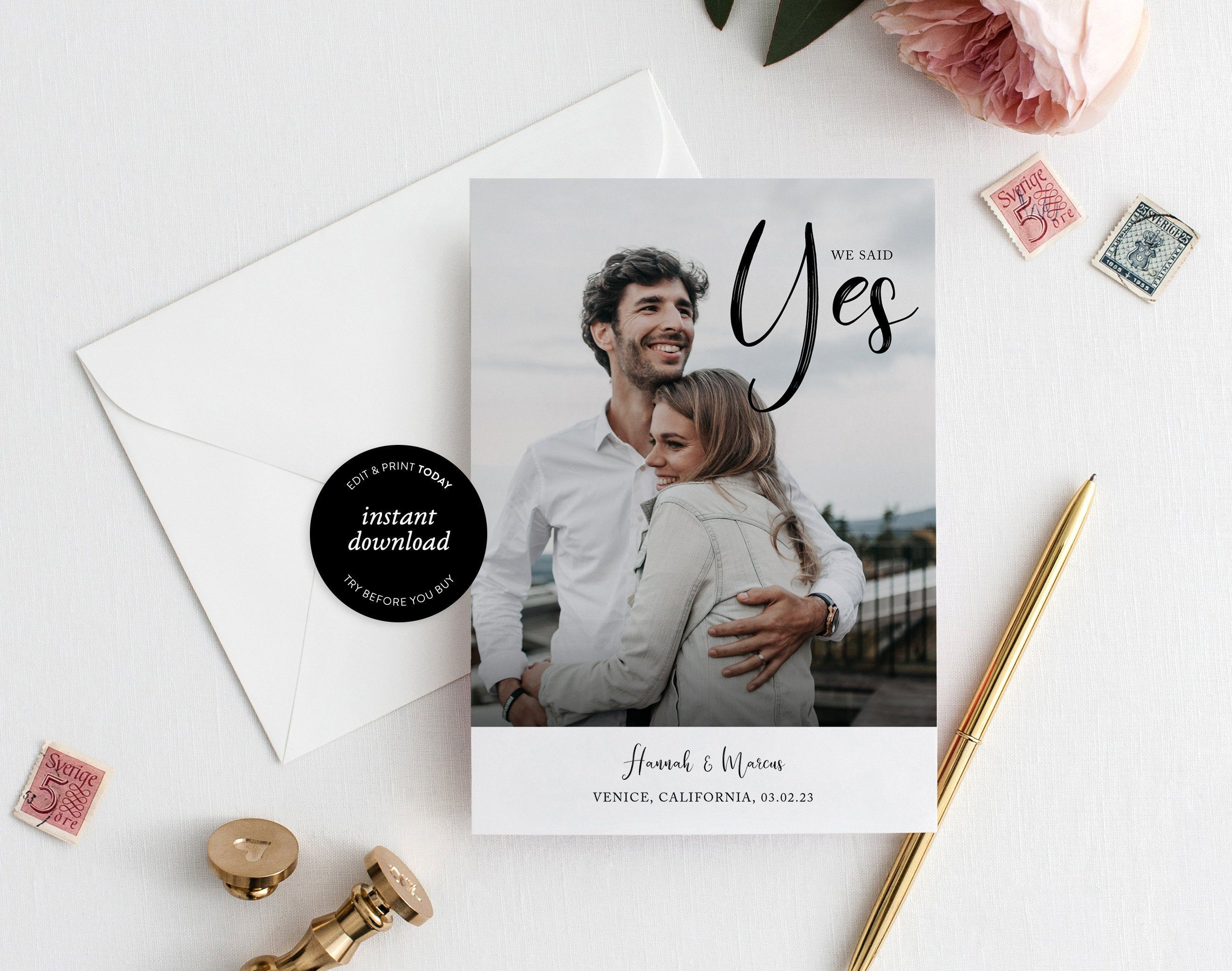 Save The Date Template We Said Yes 100 Editable Etsy In 2021 Save The Date Templates Calligraphy Save The Dates Save The Date