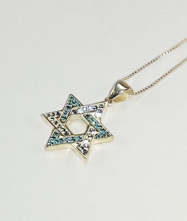 2423a0b9ec3 Sterling silver Star of David Pendant with Swarovski crystals. #handmade  #sterlingsilver #judaica