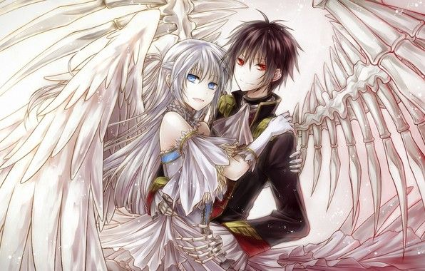 Wallpaper Art Yuki Rengetsu Boy Girl Wings Bones Demon Red Eyes Anime Angel Girl Cosplay Anime Anime Angel