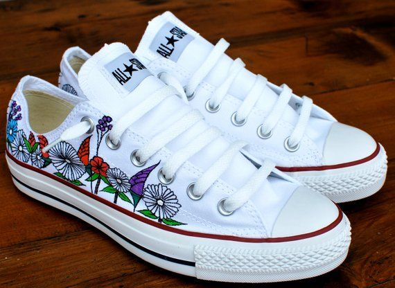 c2e3a9a5952f Custom hand painted flowers on low top Converse Chuck Taylor All Stars