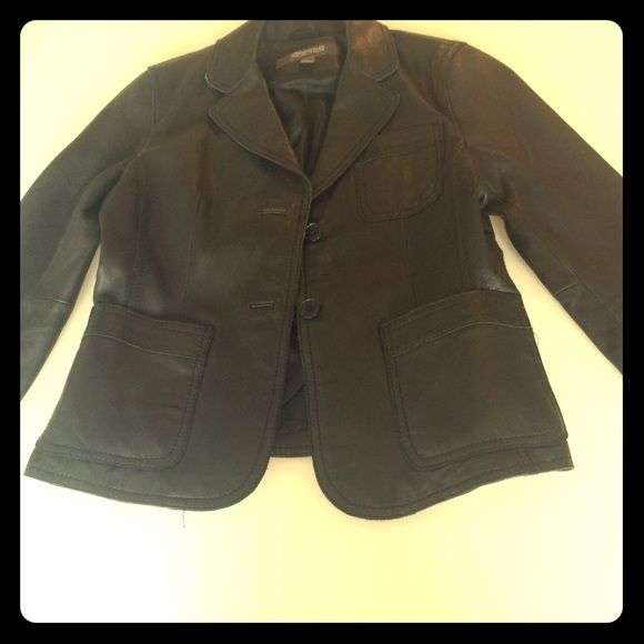 Kenneth Cole jacket Black leather fitted blazer Kenneth Cole Reaction Jackets & Coats Blazers