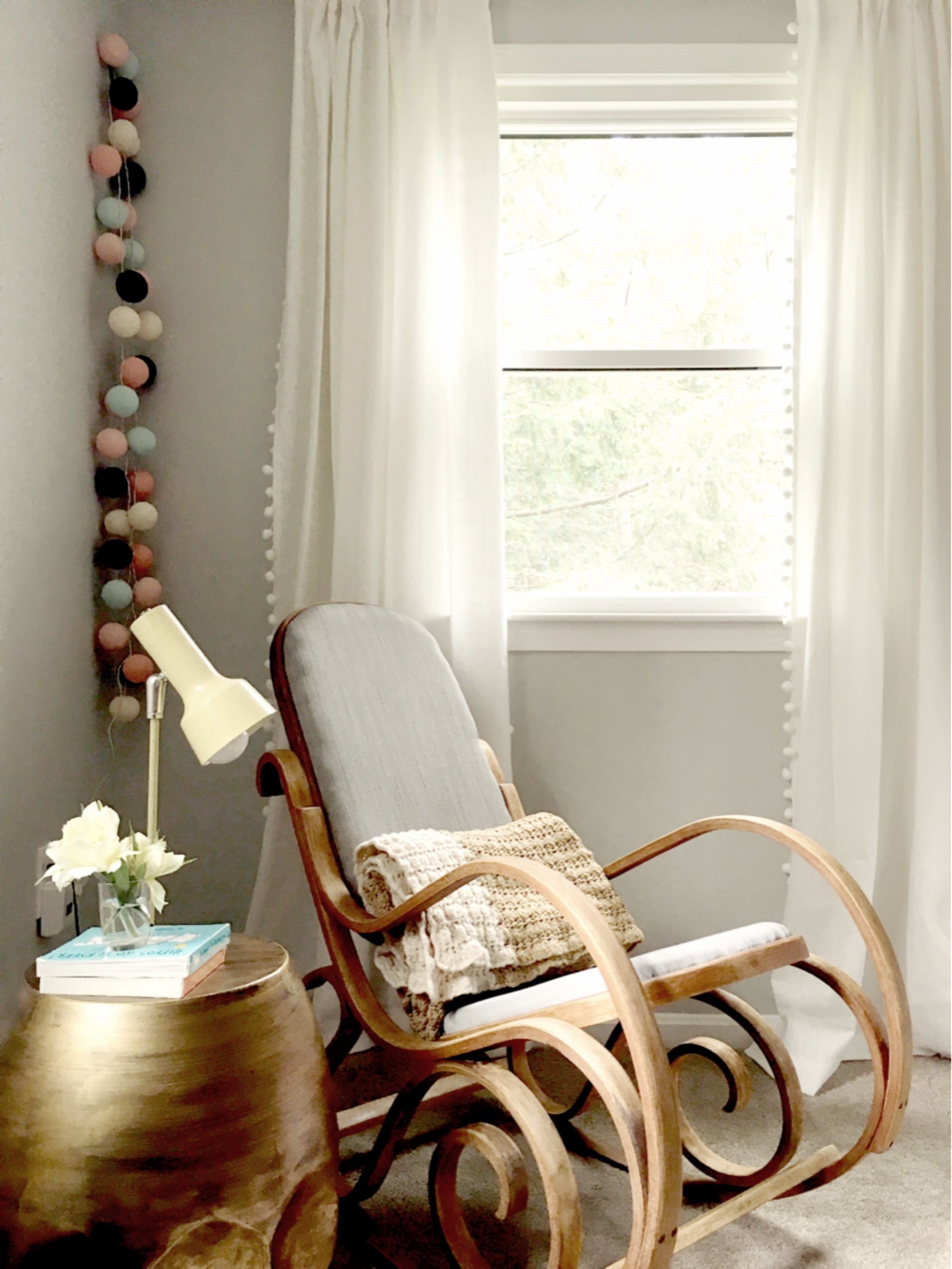 Gender Neutral Baby Nursery. Benjamin Moore Moonshine. Vintage Bentwood Rocking  Chair. White Pom Poms Curtains.