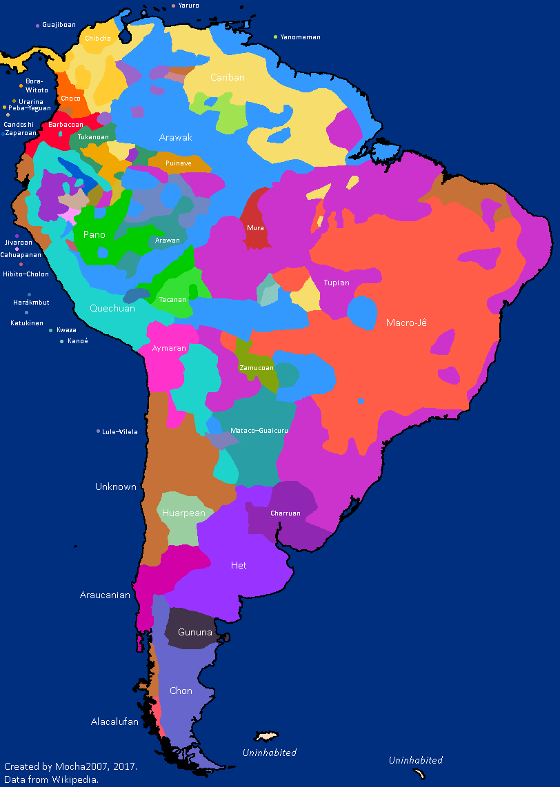 Pre Columbian America Map Distribution of language families in Pre Columbian South America