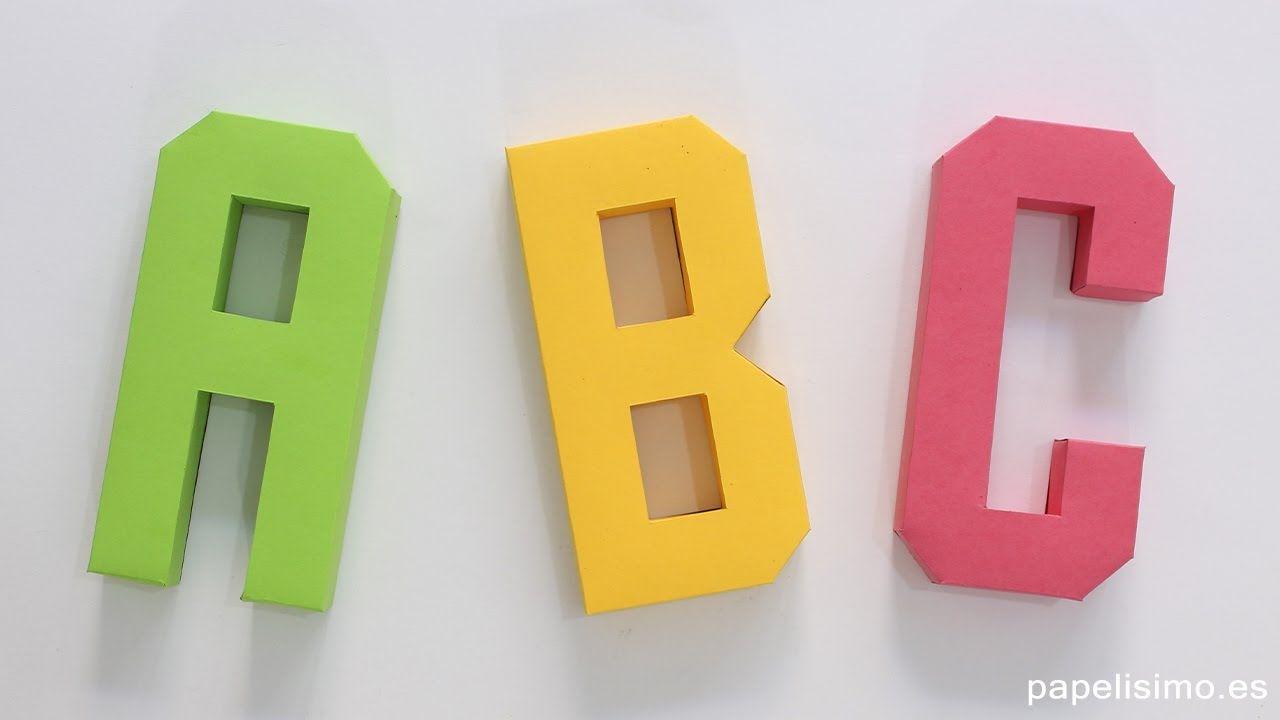 Cómo Hacer Letras 3d De Papel O Cartulina Plantillas Abecedario A Z Abecedario De Papel Paper Alphabet Prin Como Hacer Letras Manualidades Letras En 3d