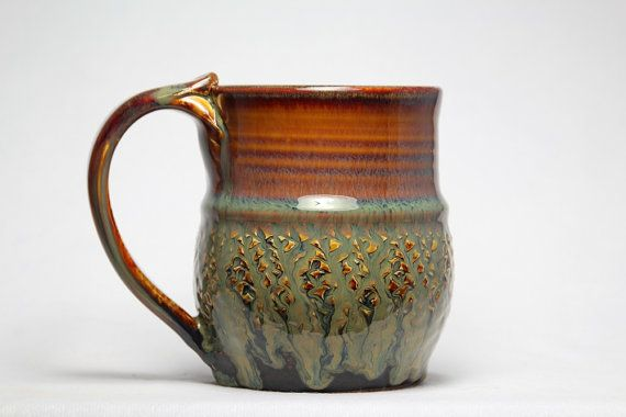 Stoneware pottery mug 14oz hand thrown pottery by DrostePottery