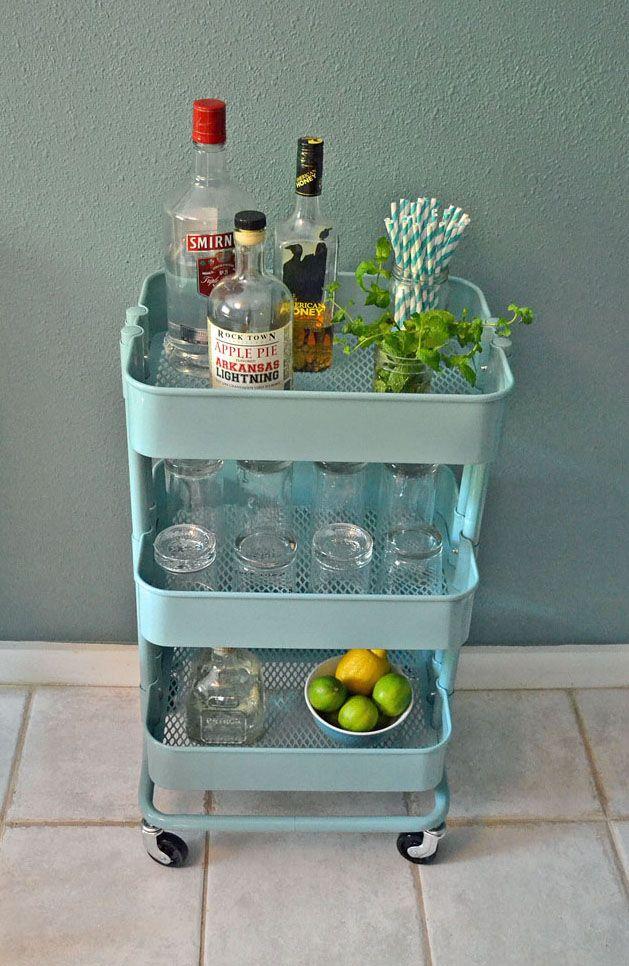 Blue Plastic Bar Cart Interior Design Ideas.