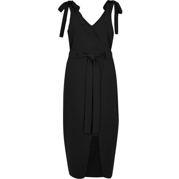 8beba0d3e8 River Island Black tie shoulder wrap slip dress (105 AUD) ❤ liked on  Polyvore