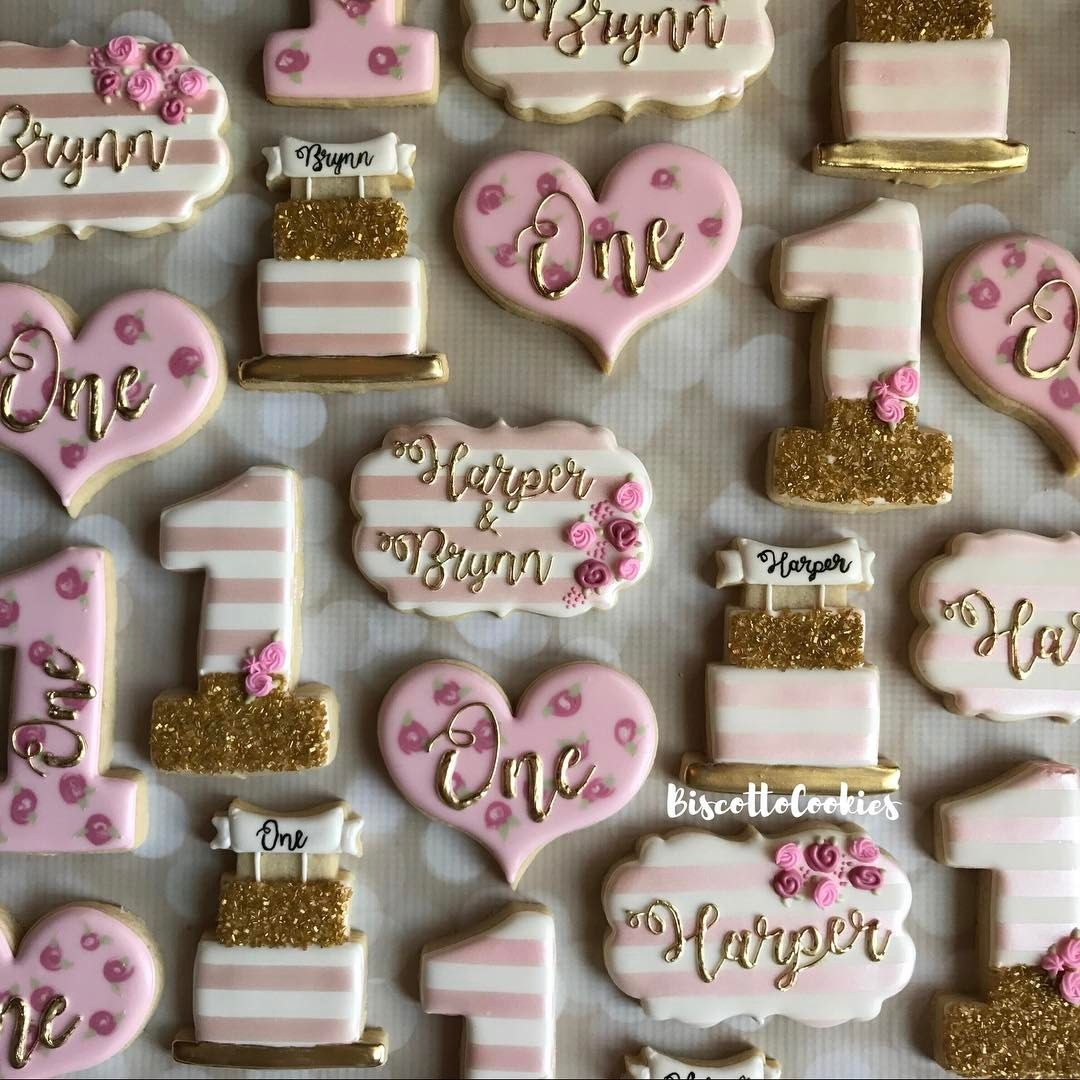 One Birthday BannerGoldPink Hearts Pink and Gold First Birthday DecorationsFirst Birthday PartyFirst Birthday Girl