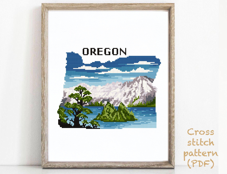 Oregon state Modern Cross Stitch Pattern, nature counted cross stitch chart, Crater Lake national park, tree, mountain, instant PDF