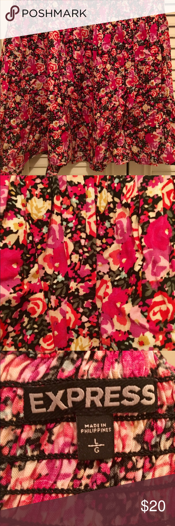Pink floral miniskirt Floral miniskirt from Express. Lightweight and perfect for summer. Elastic waistband. Express Skirts Mini