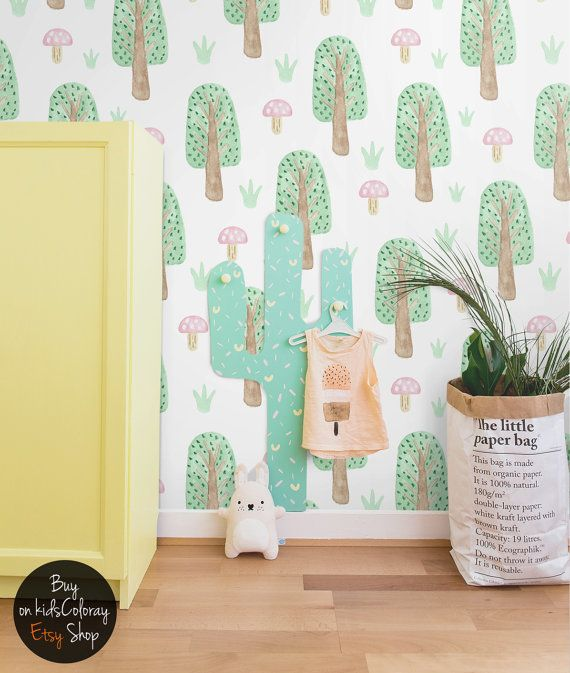 Removable Wallpaper Trees Mushrooms Wall Mural Kids Nursery Baby