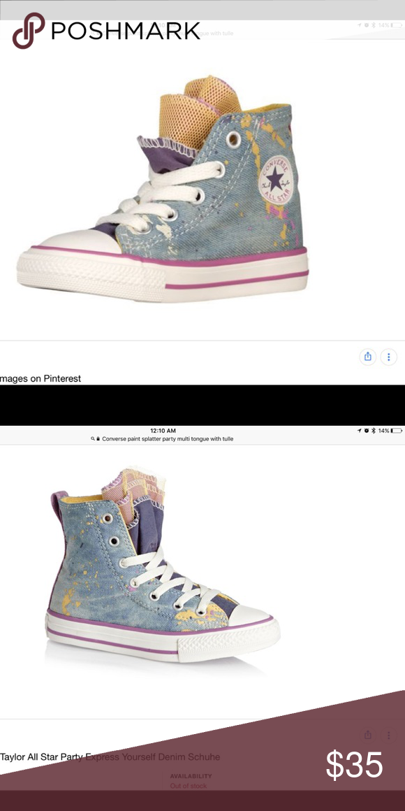 389d5ab6a1cb92 Converse Party Express Yourself High Tops Converse All-Star Chuck Taylor  high tops with paint splatter on denim. Multiple colorful canvas tongues  intermixed ...