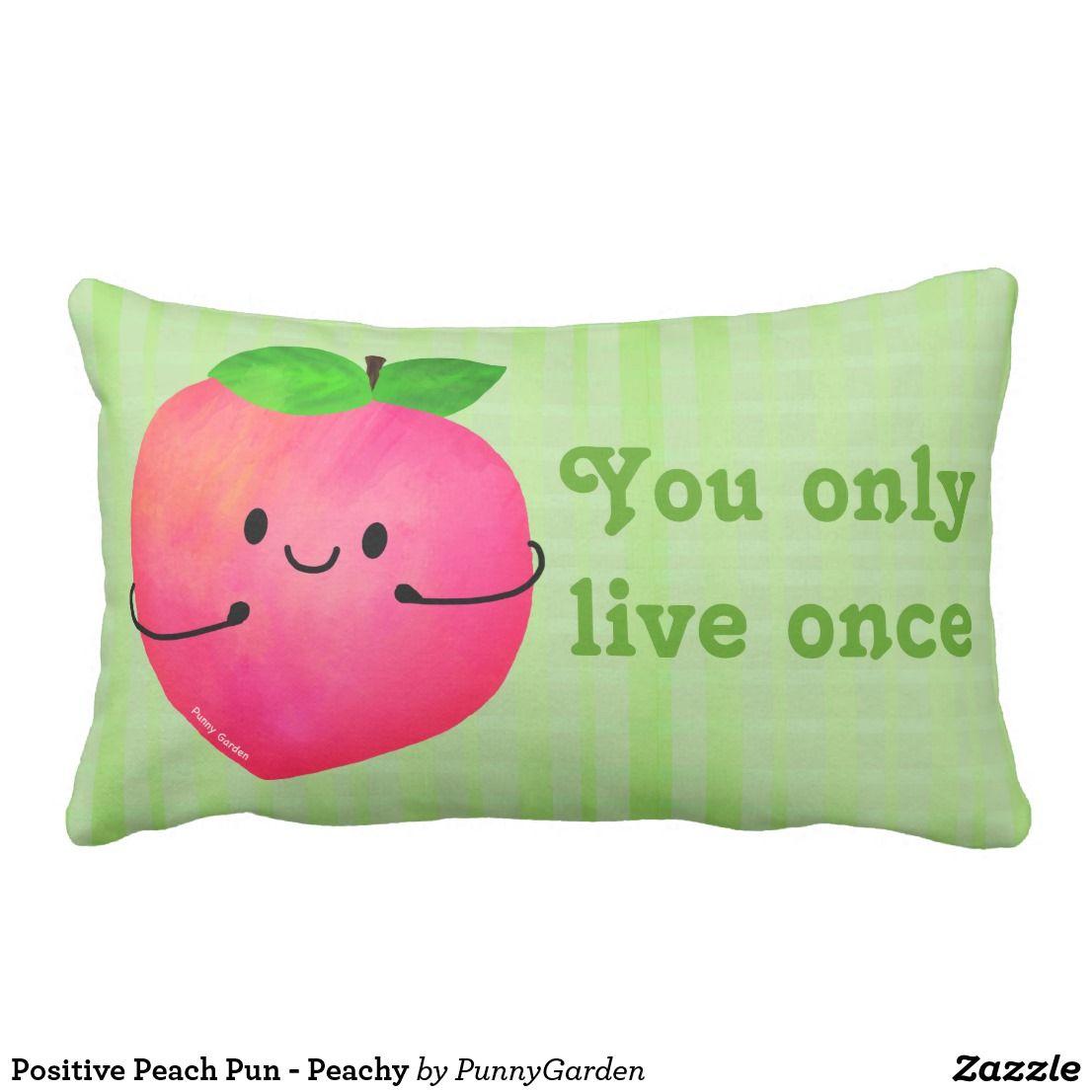 Positive Peach Pun - Peachy Lumbar Pillow | Zazzle.com