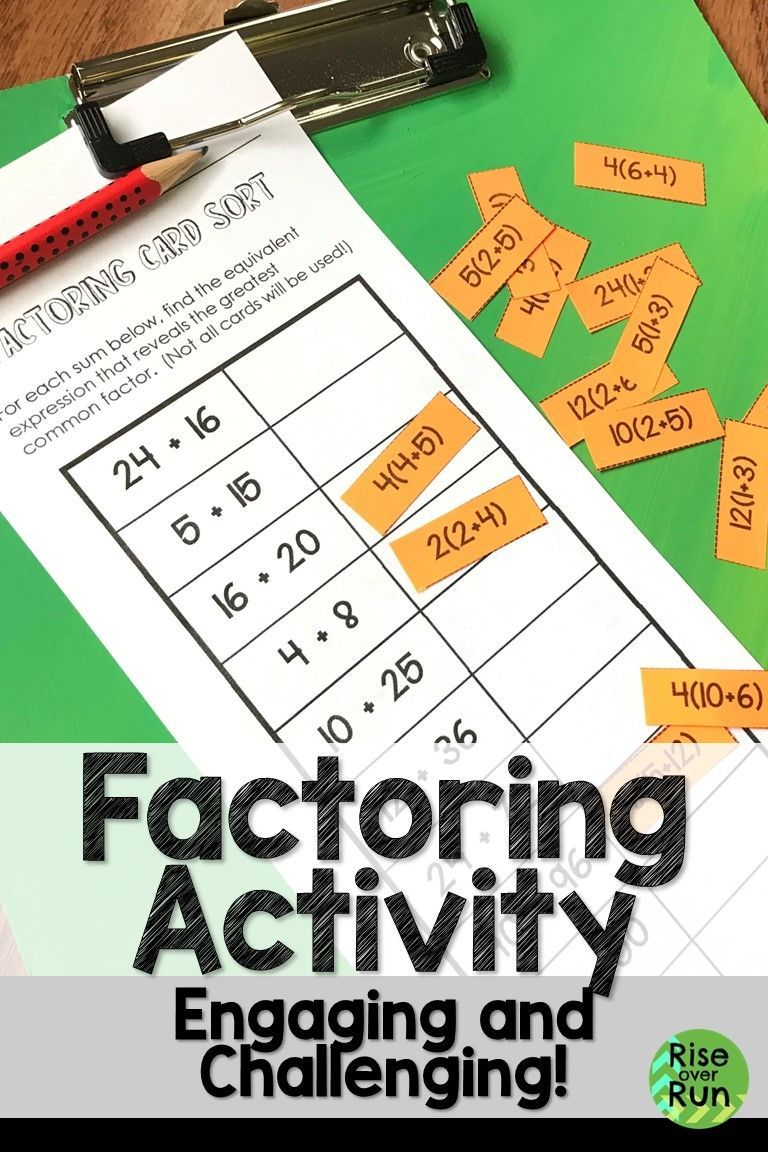 I Love Card Sorts This One Is Perfect For Practicing Factoring With The Distributive Property St Greatest Common Factors Distributive Property Sorting Cards