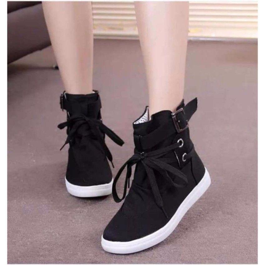 Zimzam Girll Sepatu Fashion Boots Wanita Premium Hitam Dengan