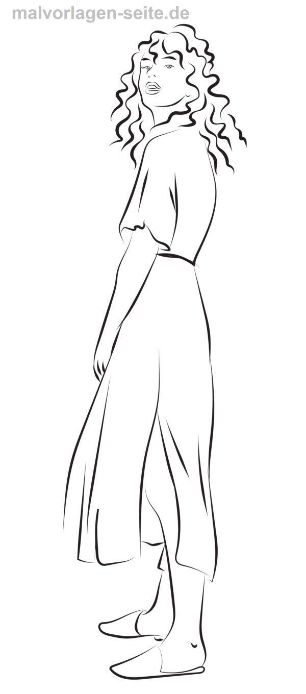 Malvorlage langes Kleid | Ausmalbilder zum ausdrucken, Kinder ...