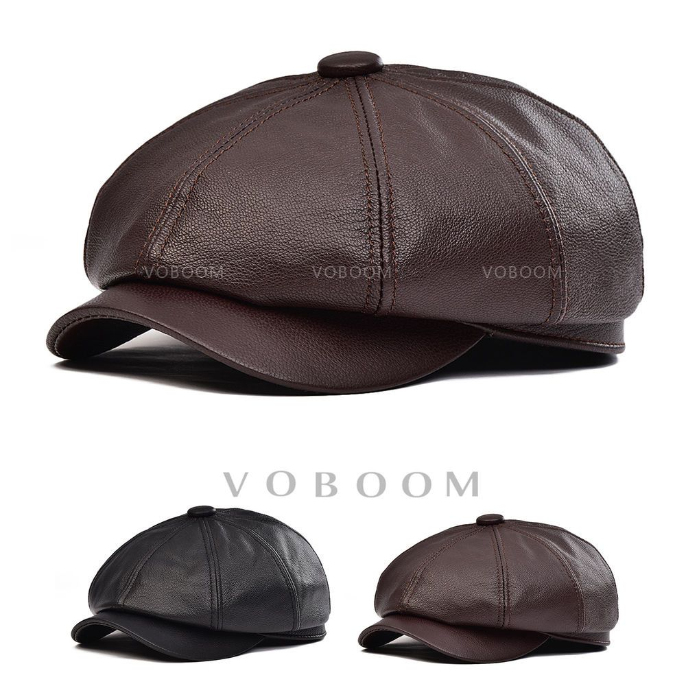 39.99 100% Genuine Leather Newsboy Cap Mens Lambskin Ivy Hat Driving Ascot  Flat Cabbie 0fc67655018