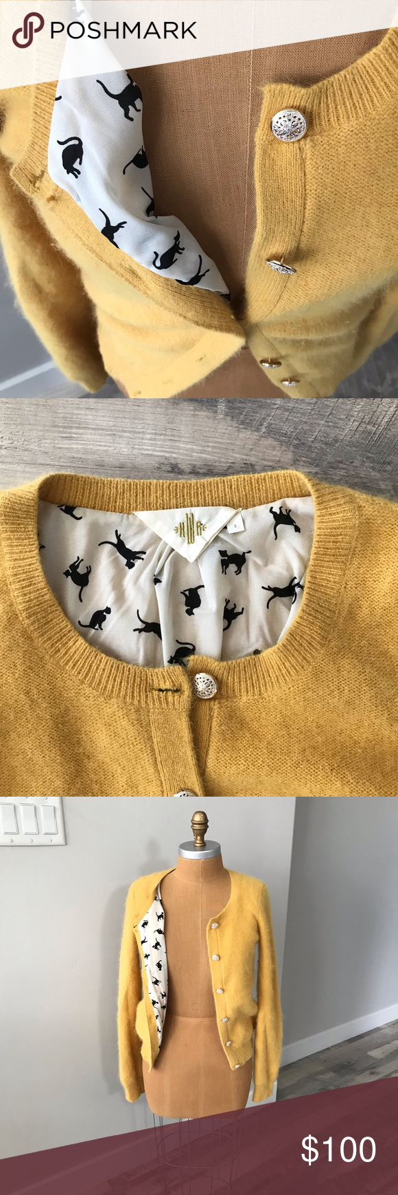 Rare HWR cardigan with cat print lining In excellent