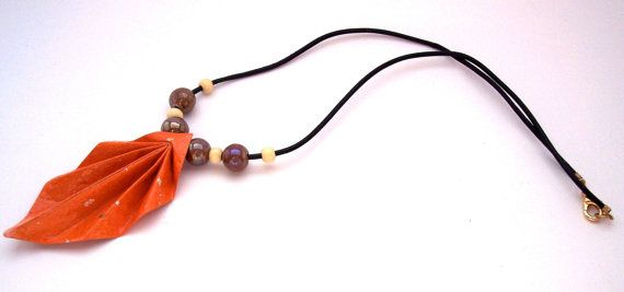 Origami Necklace  Autumn Orange Origami Leaf by foldedjewels, $12.00