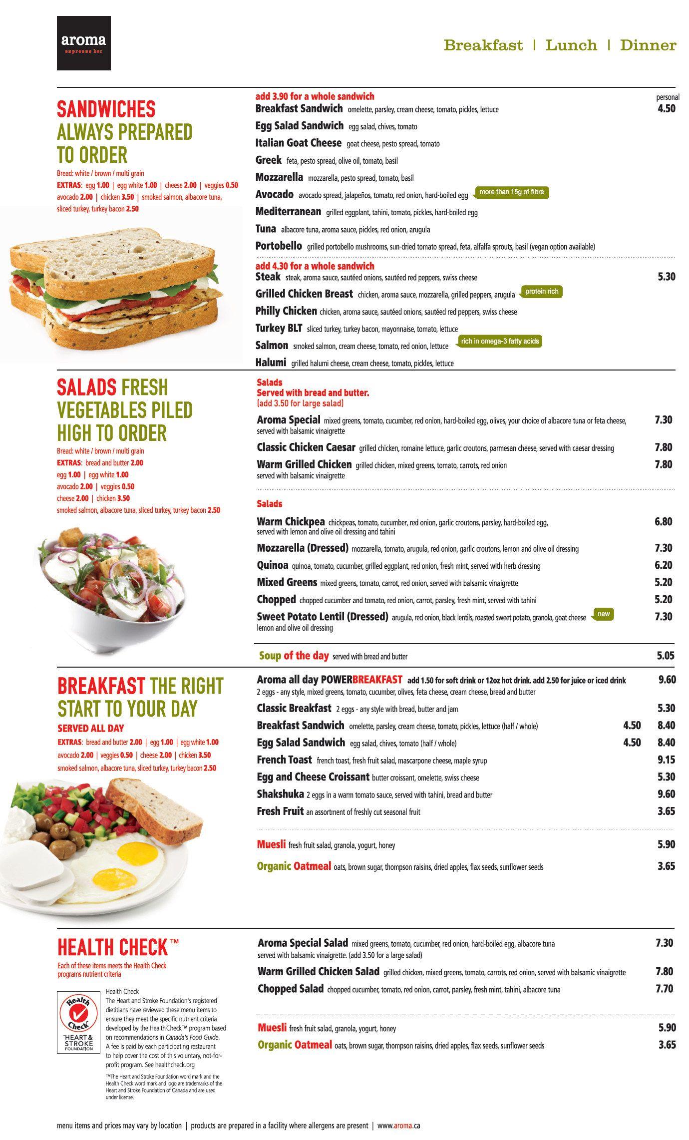 Aroma Espresso Bar menu | Restaurant Menu | Pinterest | Espresso bar ...