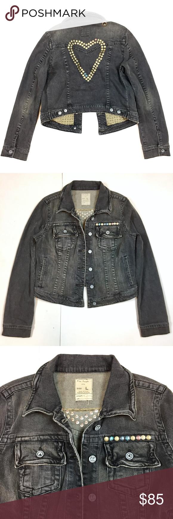 Sold Fp Distressed Gray Denim Jean Jacket Sz L Denim Jacket Women Denim Wool Jacket Grey Denim Jeans [ 1740 x 580 Pixel ]
