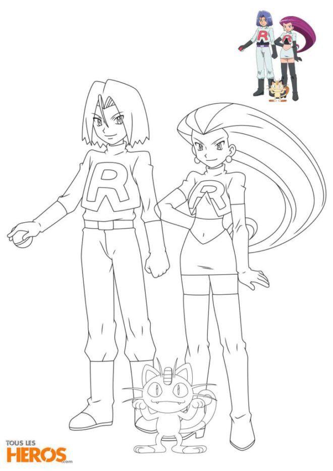 Coloriages De La Team Rocket Avec Jessie James Et Miaouss Coloriage Pokemon Coloriage Coloriage Pokemon A Imprimer
