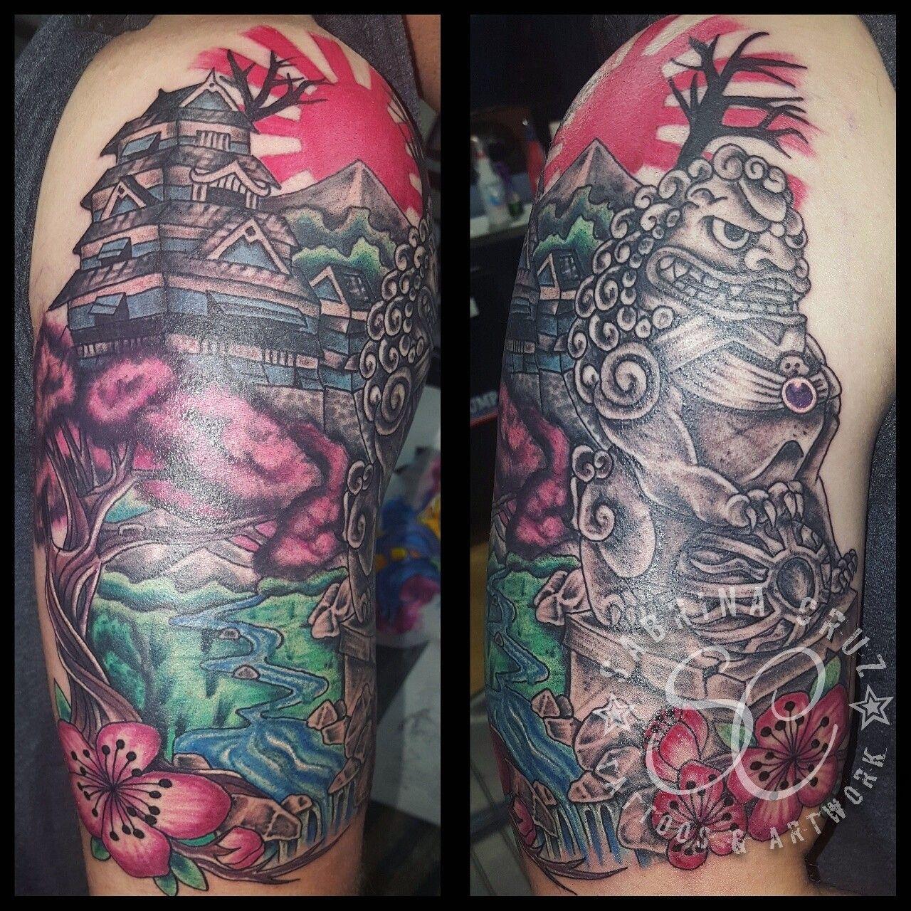 Japanese landscape tattoo. Artist Sabrina Cruz @sabrinacruz005 ...