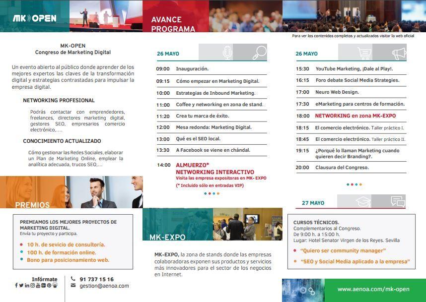 Congreso #MKOpen en #Sevilla, 26 y 27 de mayo.  Te presentamos el triptico del evento! http://www.aenoa.com/downfiles/triptico-mk-open.pdf